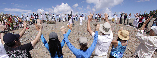group prayer on Holy mountain